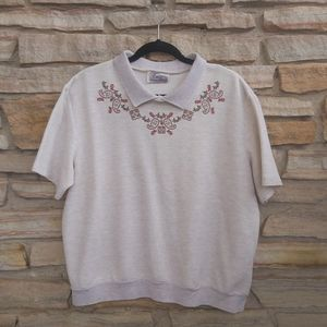 Vintage Vbs Neutral Cottagecore Collared Ribbed Sweater Tee